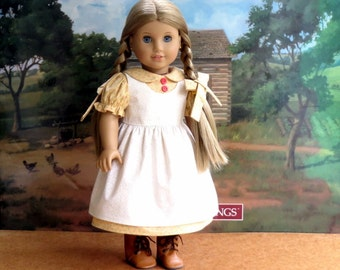 18 inch Doll Clothes Prairie Dress with Pinafore Apron and Matching Hairbows, Kirsten Doll Dress
