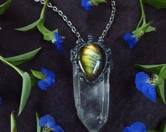 Labradorite Quartz Necklace - Green Labradorite with Clear Lemurian Quartz Point - Labradorite Clear Quartz Pendant Necklace - Loreley