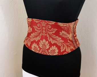 Corset Waist Cincher Red and Gold Tapestry Belt Any Size B