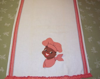 Vintage Black Americana Towel Applique Chef Red & White Polka Dot