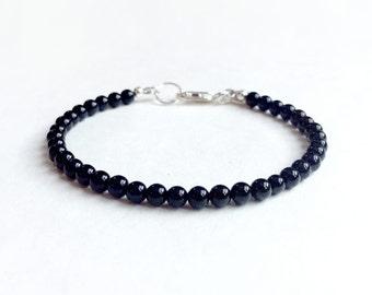 Bracelet - Onyx Bracelet - Sterling Silver, 14k Yellow Gold or Rose Gold Filled - 4mm Onyx Rounds - Everyday Wear - Stacker Bracelet