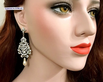 Chandelier Bridal Earrings, Pearl Drop Earrings, Statement Wedding Earrings, Swarovski Crystal Bridal Jewelry, Wedding Jewelry Gift, VIVIAN