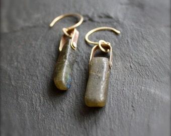 Rough Labradorite Stone Stick Earrings - Riveted Brass, Oxidized Patina, Green Gemstone, Blue Flash, Long Statement Earrings, Boho Jewellery