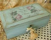 Vintage Lane Wood Jewelry Box Shabby French Chic Cottage Decor Altered Keepsake Box Treasure Chest