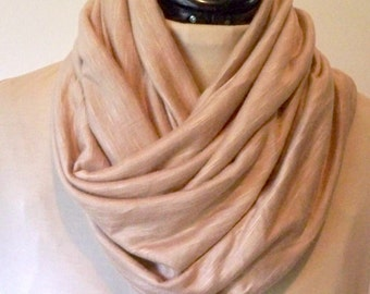 Infinity Scarf,  Taupe Color,  Neck Warmer, Cozy Snood, Super Soft, Rayon Cowl, Made To Order