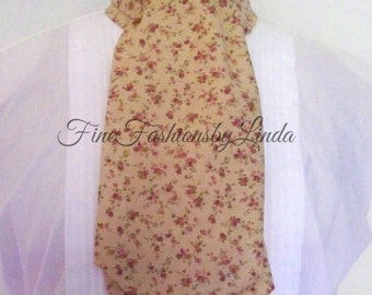 Cravat, Casual Day Ascot,  Cotton Fabric, Rosebud Design Tie, Formal Look, Country Wedding, Ready To Ship
