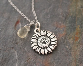 Citrine and Sunflower Necklace