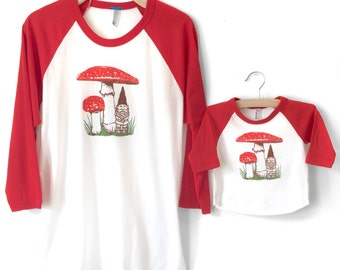 Father Child Matching, New Dad Gift, Matching Gnome Mushroom T-shirt set, father son, father daughter, dad and baby, new dad matching shirts