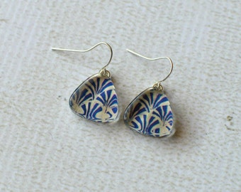 Dark Blue Dangle Earrings- Glass Titanium Earrings- Made from Upcycled Paper and Glass- Titanium Earrings