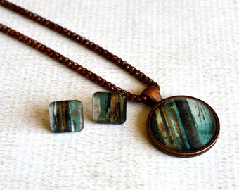 Glass Jewelry Set- Blue-Green and Brown Wood Grain Jewelry- Glass Pendant with Titanium Earring Posts- Made from Upcycled Paper