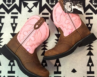 Vintage Cowboy Boots Brown Boots Pink Boots Leather Boots Stitched Fire Pattern Womens Boots Size 8 Big Kid Boots Size 4.5 Justin Brand