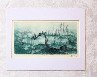 Original Fine Art. Landscape Art. Surrealist Art. Etching. Teal. Navy Blue. Wall Art. Monoprint. Monotype print. Nature Art. Intaglio print.