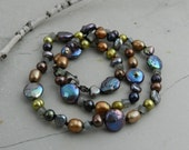 Blue, Bronze, Green, Brown Pearl & Gray Blue Labradorite Gemstone Hand Knotted Strand Necklace