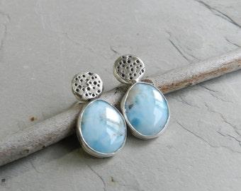 Bezel Set Genuine Larimar Gemstone and Recycled Dots Sterling Earrings--Modern