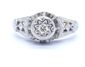 Antique Art Deco Diamond engagement ring 1920's 18ct Platinum Milgrain engraved Single stone solitaire Gatsby wedding Anniversary*FREE SHIP*
