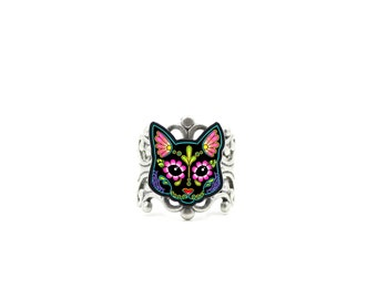 Cat in Black - Day of the Dead Sugar Skull Kitty Adjustable Ring