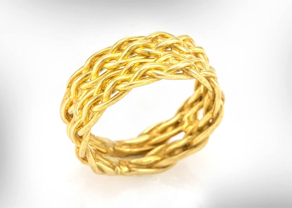 Women Wedding band, Women Wedding Ring, 14k Gold Wedding Band, Wedding Band His And Her, Braided Wedding ring, Unisex Bands, Free Shipping