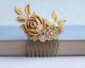Brown Latte, Pink, Ivory, Gold Brass Leaf Flower Collage Hair Wedding Comb. Gold Bridesmaids Comb, Brown Woodland Comb, Country Rustic Comb