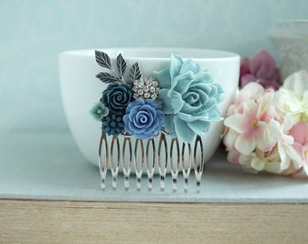 Powder Blue Rose Comb,  Rhinestone, Sprig Leaf, Dusty Blue Comb, Unique Flower Comb. Vintage Rustic Wedding. Prom Graduation, Shades of Blue