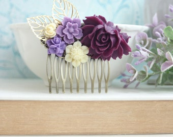 Bridal Comb, Dark Purple Rose, Lavender, Ivory, Gold Leaf, Purple Flower Comb. Bridesmaid Gift, Purple Lilac Ivory Gold Wedding Wedding Comb