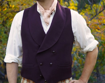 Wool Double-Breasted Vests----With Shawl Collars