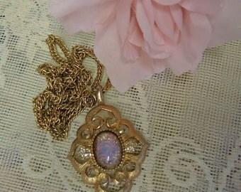 Opal Pendant - Vintage Costume Jewelry - Mid Century Pendant - Faux Opal
