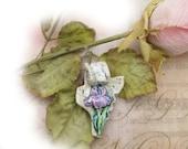 Ceramic Pendant - Focal Bead - necklace bead - OOAK bead - Iris flower bead - pendant bead -   # 153