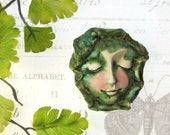 OOAK bead - clay art bead, Focal Bead, ceramic bead, art bead - face  bead - # 153