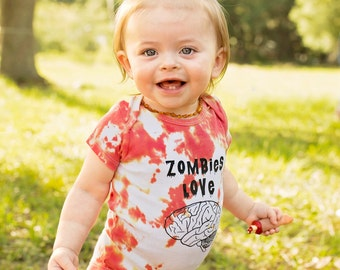 Hand Dyed 'Zombies Love Brains' Onesie