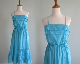 Cute 70s Rockabilly Sundress in Pretty Turquoise - Vintage Aqua Blue Ruffled Dress - Vintage 1970s Sundress M