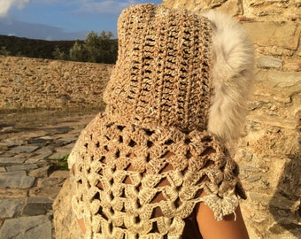 Tears of stone crochet hooded caplet with fur lining