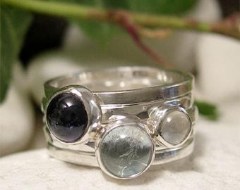 Gemstone Stacking Rings, Sterling Silver 5 Stacking Ring Set, Natural Gemstones, Moonstone, Sky Blue Topaz & Iolite, Minimalist Anniversary