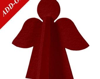 Wool Felt Angel Decorations - Natural Off-White or Red, Muliple Pack Sizes Available, Add-On Item, Christmas Decoration