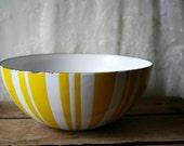 Vintage Cathrineholm Norway Large Striped Bowl White Yellow Greta Prytz Kittelsen SALE