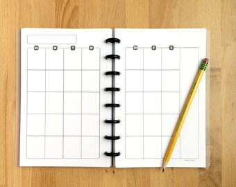Monthly Calendar Planner Page - Organizer - Undated - Printed - Disc Bound Planner - Fits Circa, Arc - Junior-Half Page Size - 5.5x8.5