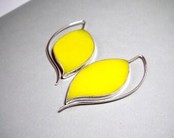 Big Silver Earrings, Long Silver Earrings, Big Resin Earrings, Leaf Earrings