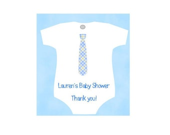 Baby Shower Favor Tags Shaped Like Baby Onesie - Gingham Tie