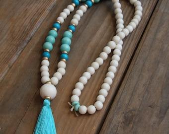 Turquoise and Aqua Tassel Necklace