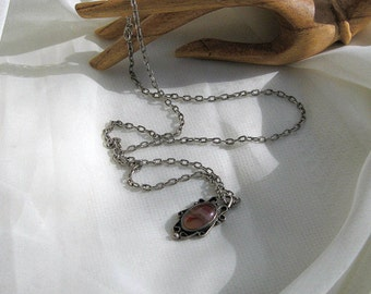 Southwest Style Necklace Agate Cabochon Pendant Vintage 70s Costume Jewelry