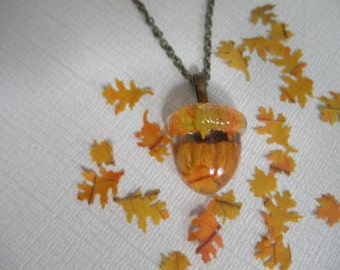 Real Pumpkin Resin Acorn Shaped Pendant w/Tiny Real Oak & Maple Leaves-Halloween-Autumn-Harvest, Woodsy, Rustic,Earthy-Gifts Under 30