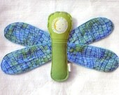Dragonfly Plush - Wrap Scrap Dragonfly - Little Frog Stoney Agate and Minky - Handmade
