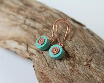 Mint blue turquoise gemstone casual earrings with copper spirals made in Israel