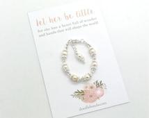 Baby pearl crystal bracelet  infant blessing bracelet  baby keepsake bracelet gift baby jewelry bracelet adjustable newborn to 6 months