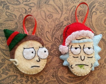 Rick and Morty ornament, Felt ornament, Christmas ornament, handsewn