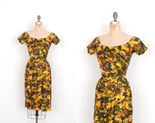 Reserved...Vintage 1950s Dress / 50s Floral Watercolor Print Cocktail Dress / Green and Yellow (small S)