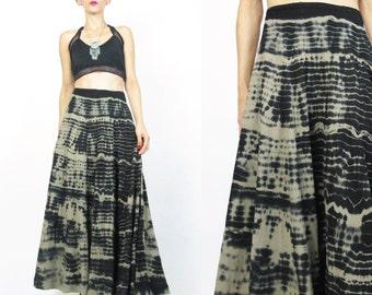 Shibori Maxi Skirt Vintage Tie Dye Maxi Skirt Gypsy Boho Hippie Festival Skirt Black Gray Striped Jersey Long Full Tie Dye Skirt (S) E407