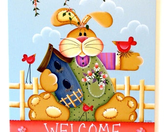 Bunny Welcome Sign with Scalloped Bottom,  Handpainted Wood Sign, Home Decor, Wall Art, Wall Hanging