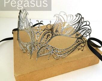 Silver Black Swan Princess Venetian Filigree Scroll work Metal Masquerade Mask (5 color option) Laser Cut light weight and flexible Mask