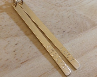 Vertical Bar Necklace Gold - Long Mom Necklace - Personalized Kids Names Long Gold Necklace - Long Layered 2 Bars - Engraved Push Present