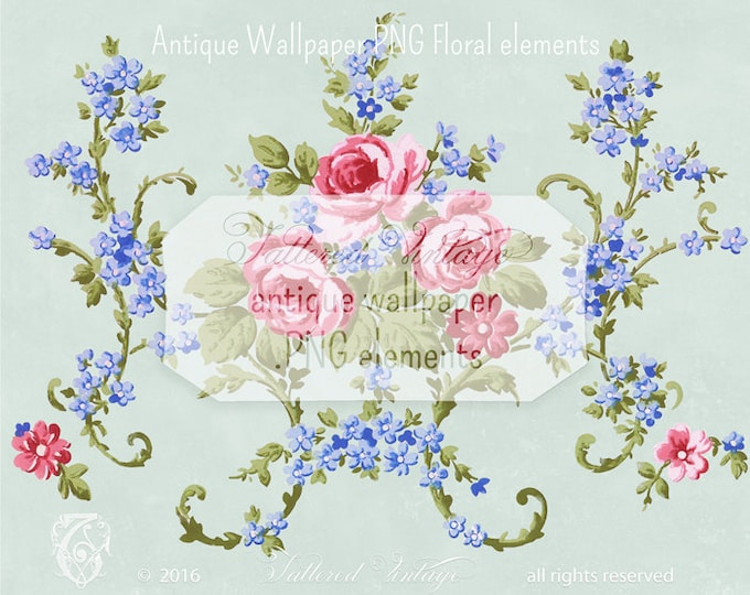 Vintage PINK Roses Transparent background PNG Antique Wallpaper Elements Blue Floral Sprays  Download